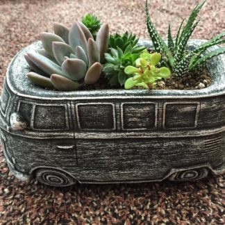 Black Brushed Cement Vokswagen T1 Camper Planter