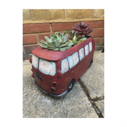 Red VW Bus Planter With Succulents Assortment